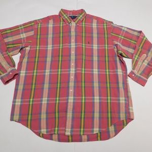 Ralph Lauren 2XL Pink Button Down Shirt Blake Cott